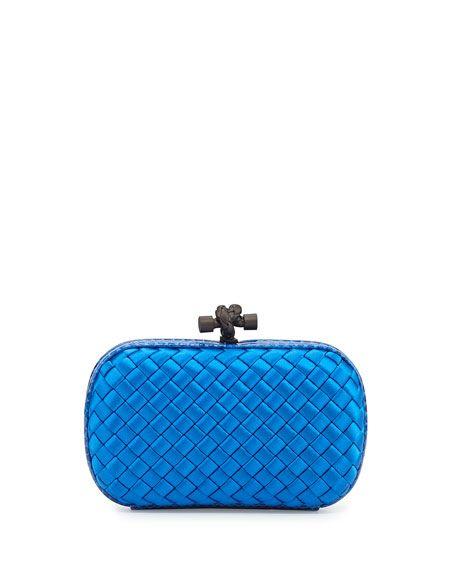BOTTEGA VENETA WOVEN SATIN KNOT MINAUDIERE, ROYAL BLUE, SIGNLBLUE ROYL. #bottegaveneta #bags #lining #clutch #hand bags #