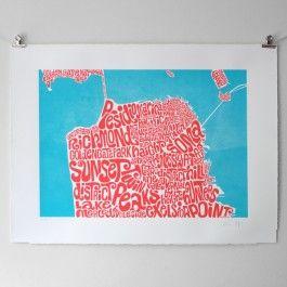 Typographic Map of San Francisco - Art Print