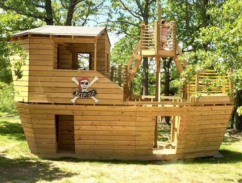 Build a Backyard Pirate Ship Playhouse | Play houses, Cool ...