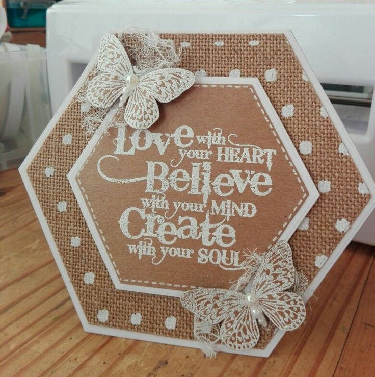 Visible image stamp, hessian, kraft card, tattered lace hexagon dies