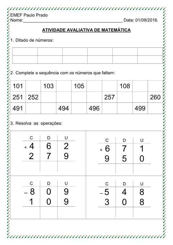 Avaliacao Eja 3º Bim Matematica Com Imagens Avaliacao