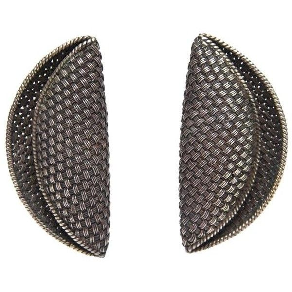 Preowned Pair Of Early John Hardy Woven Sterling Silver Sculptural... ($625) ❤ liked on Polyvore featuring jewelry, earrings, black, 80s clip on earrings, braid jewelry, 1980s earrings, john hardy jewelry and 80s jewelry