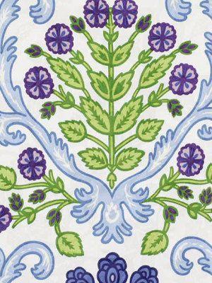 Moderno blu floreale in cotone da tappezzeria di PopDecorFabrics