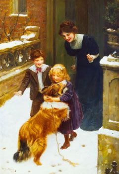 """""""Home Again""""(Signed and dated 'ARTHUR J. ELSLEY/1900', lower left), inscribed 'Oil painting/Home Again/A.J.Elsley' (on an old label on the reverse) and further signed and inscribed 'No. III ARTHUR ELSLEY/HOME AGAIN' (on an old label on the reverse),by English artist - Arthur John Elsley (1860 - 1952), Oil on canvas, 36 x 28 in.(91.5 x 71 cm.), Sold by Christie's on November 30, 2000, London, United Kingdom."""