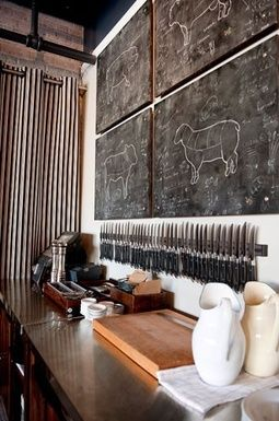 .This is simple and very cool — 4 boards painted with blackboard paint (butcher drawing by an artistic friend), quite a few magnetic knife s...