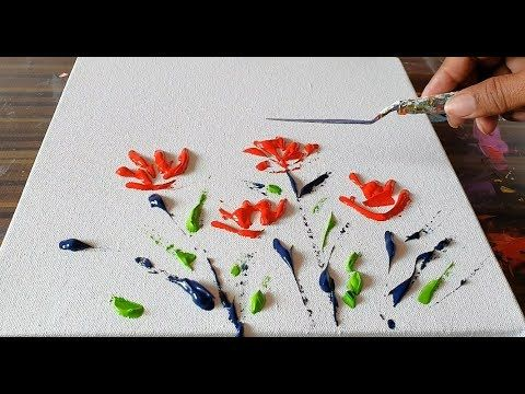 Poppies / Reds / Simple Florals / Abstract Painting Demonstration / Project 365 days / day No. 0363 – YouTube