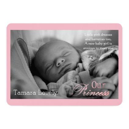 Our Princess - birth announcement - invitations custom unique diy personalize occasions