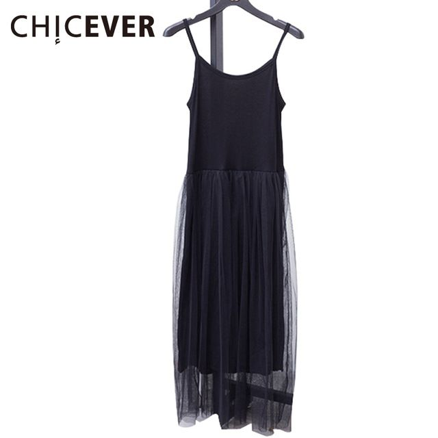 Latest Discount $6.75, Buy [CHICEVER] 2017 Sexy Off Shoulder Summer Women Dress Female Loose Spaghetti Strap Mesh Ladies Party Dresses New Clothing
