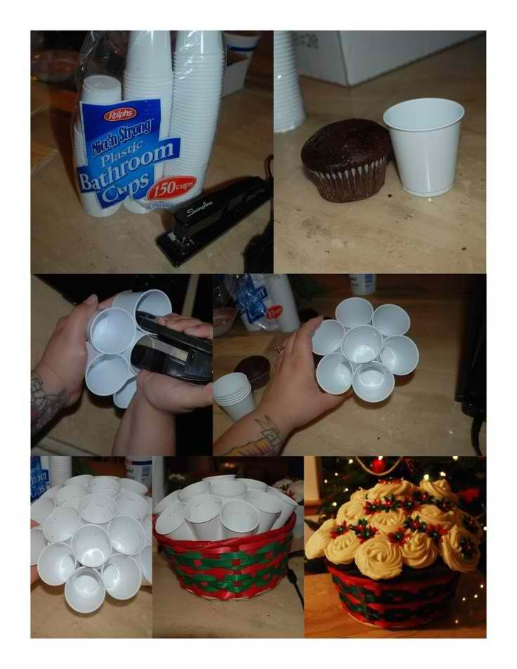 Cupcake Bouquets using Cups Stapled Together. This could be really cute for Christmas, birthdays, graduation parties using school colors.