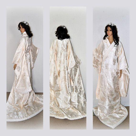 #elegance #dresses #designer #devine #specialoccassion #pretty #sparkle #love #lace #picoftheday #beautiful #bridesmaids #formal #fashion #fashioninspiration  Kokuho Wedding Kimono Silk Robe by EventOutlet