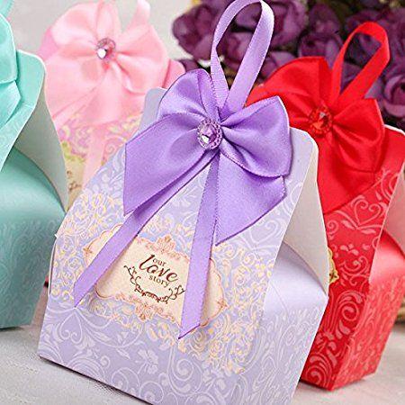 JZK® 50 x Scatoline scatole portaconfetti bomboniere segnaposto per matrimonio compleanno battesimo festa comunione nascita laurea Natale, porta confetti, regalo piccolo o gioielli, Viola pallido