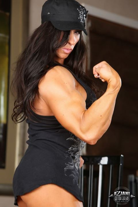 Sexy girl. female bodybuilder big tits magnificent. Her