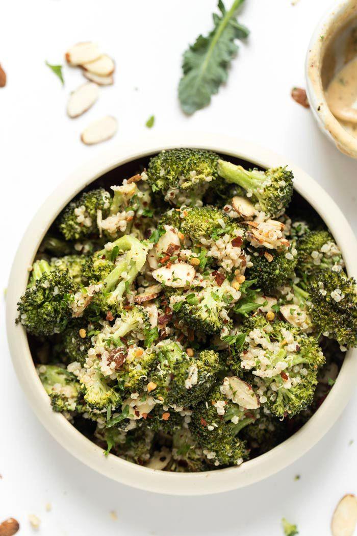 Creamy Vegan Broccoli Quinoa Salad Recipe Quinoa Salad Broccoli Side Dishes Easy