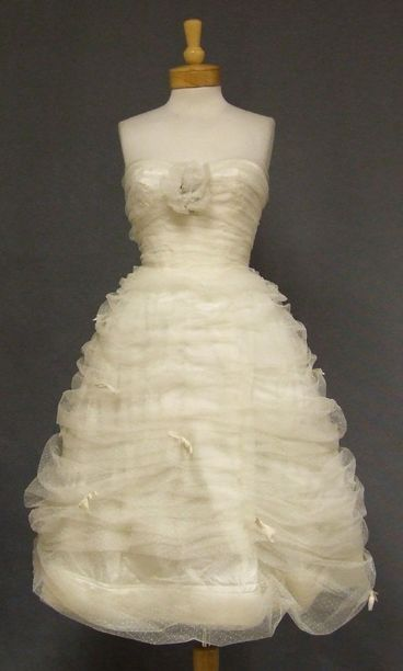 CUPCAKE Gathered Ivory Tulle 1950s Cocktail Dress