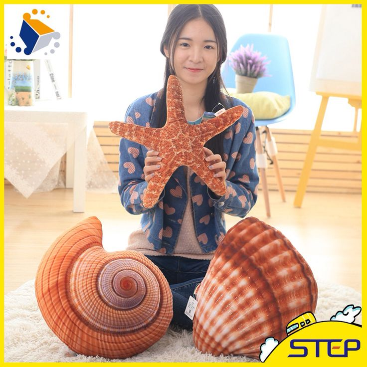 2016 Free Shipping One Piece Conch Starfish Sea Plants Plush Pillow Home Pillow Home Decor Brinquedos Baby Toy  ST349