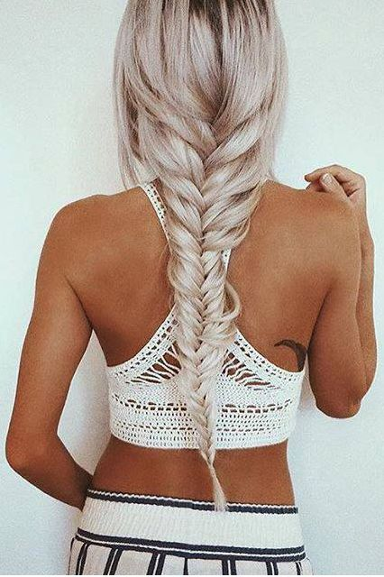 Long Fishtail Braid with Ash Blonde ‪Luxy Hair Extensions on @emilyrosehannon. #luxyhair