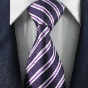 Navy & Purple Striped Neckties / Formal Business Neckties.