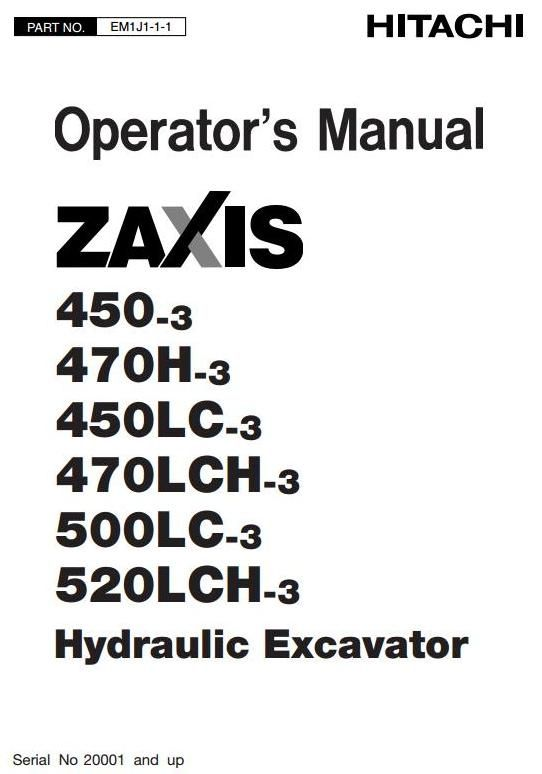 Original Illustrated Factory Operating and Maintenance Instructions for Hitachi Hydraulic Excavator Type Zaxis 450-3.Original factory manuals for Hitachi Excavator Mashines, contains high quality images, circuit diagrams and instructions to help you to operate and repair your truck. All Manuals Pri