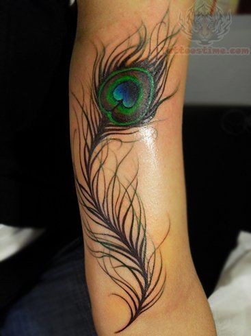 Arm Peacock Feather Tattoo Design