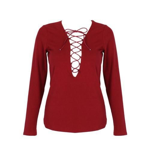 Wine Red Plunge Lattice Lace Up Long Sleeve T-shirt D902-CZA77E