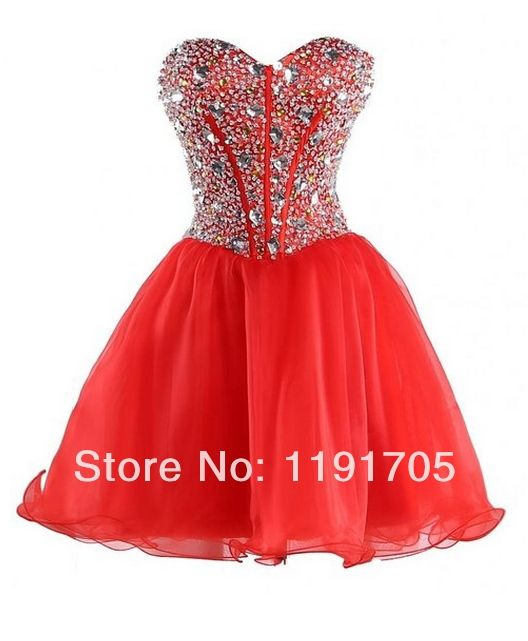 Freeshipping Sexy Strapless Beaded Handmade Red Short Prom dresses 2014 Ball Gowns Mini Party Dress 2014 New Style $119.00