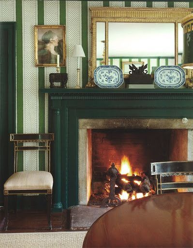 comfortable fire in Bunny Williams' CT country dining room