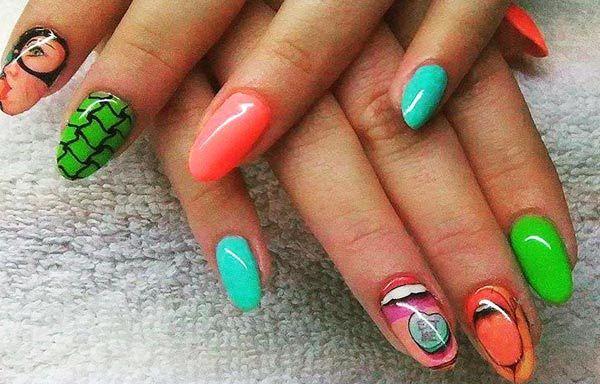 Diseños de uñas de neón, Diseño de uñas neón acrilico. Clic Follow,  #uñas #nails #uñassencillas