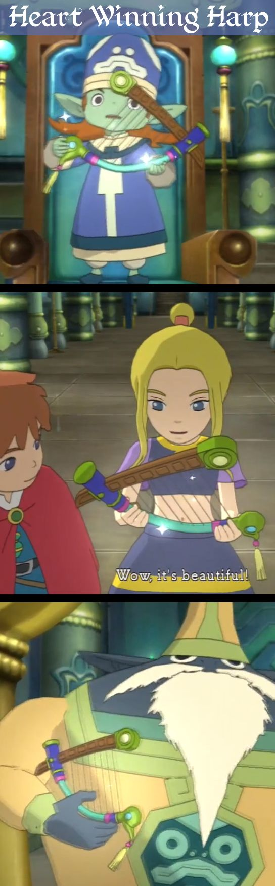Ni No Kuni: Wrath of the White Witch - Esther's first harp, the Heart Winning Harp, from Solomon and Umbopa in the Temple of Trials - #screenshot #screengrab #screencap