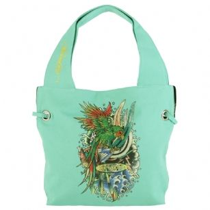 Ed Hardy Nia Rhinestone Parrot Bay Tote- Teal - Pack your belonging in this fun parrot bay designed Ed Hardy tote bag. Featuresdoublehandles