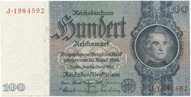 100 Reichsmark 1935 (Liebig), Serie E/J; KreuzIrisDruck