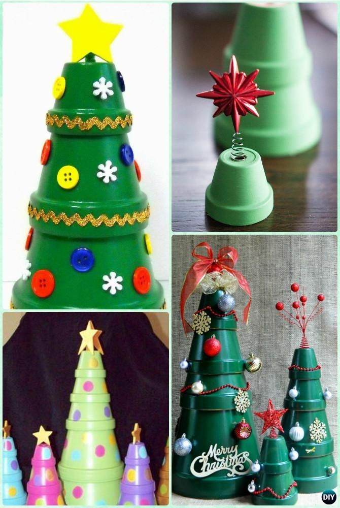 DIY Clay Pot Christmas Tree Instruction - DIY Terra Cotta Clay Pot Christmas Craft Ideas