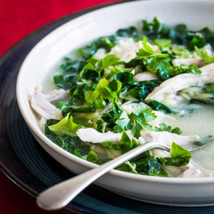 Chicken, silverbeet, lemon and parsley soup