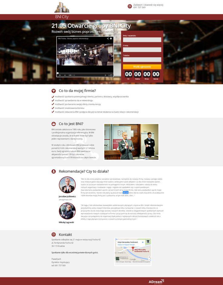 Tworzyliśmy stronę wydarzenia dla grupy BNI City w której aktywnie działamy!