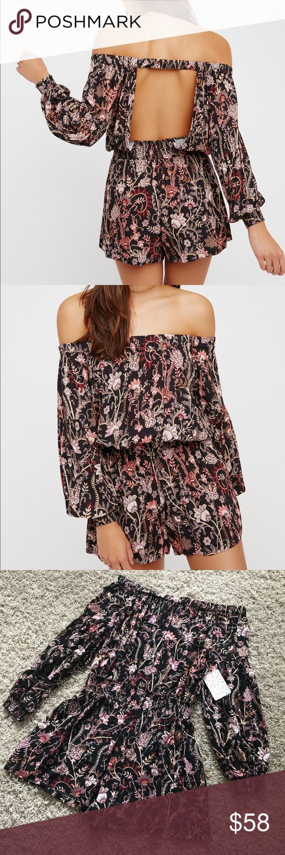 New Free People Pretty and Free Romper Free People Pretty and Free Off the Shoulder Romper in Black •New with tags •Size M •Retails for $98  Check out my other listings- Nike, adidas, Michael Kors, Kate Spade, Miss Me, Coach, Wildfox, Victoria's Secret, PINK, Under Armour, True Religion, Ugg Australia, Free People and more! Free People Pants Jumpsuits & Rompers