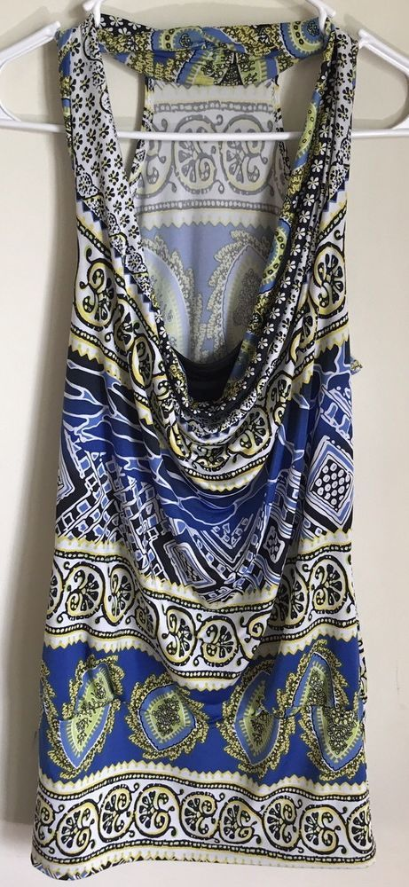 BODY CENTRAL Women's Multi-Colored Pattern Drape Neck Racer Back Top MEDIUM #BodyCentral #KnitTop