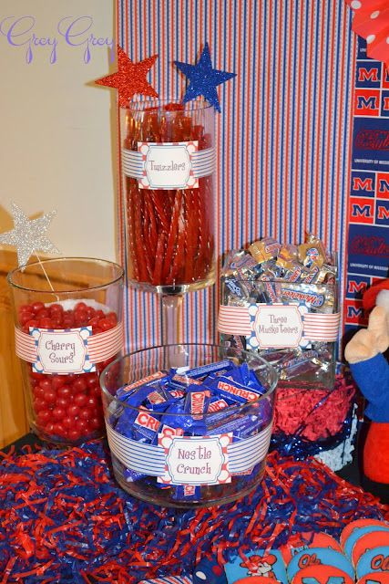 Patriotic themed party table for Memorial Day & 4th of July - candy bar, cupcakes, party favors, decorations!
