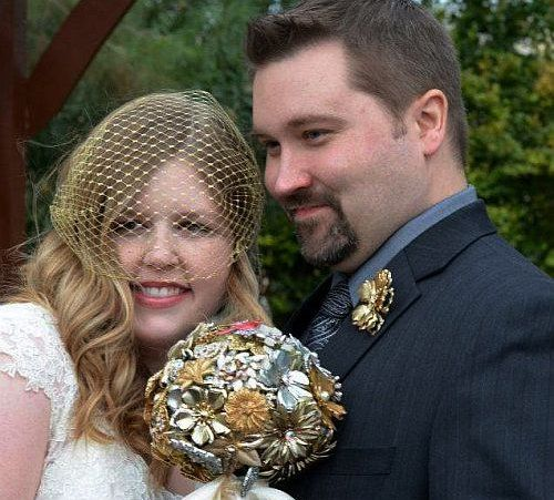 Real bride Linn and our gold metallic veil.