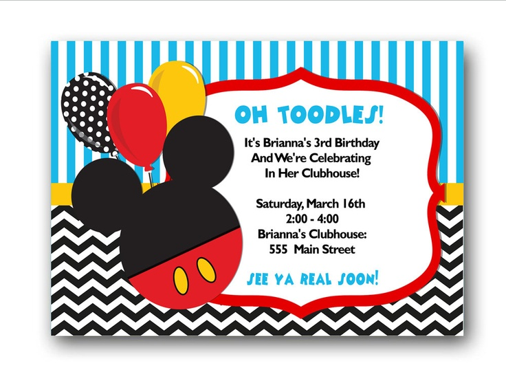 12 best mickey mouse invites images on pinterest | birthday party, Birthday invitations