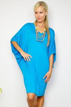 Azure Blue Batwing T-shirt Dress