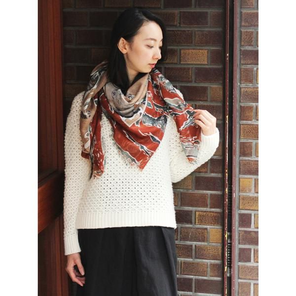 """SWASH - Cashmere Blend Scarf """"CANDY CAMO PEACOCK"""" 120 x 120 / スウォッシュ・シルクカシミヤストール"""