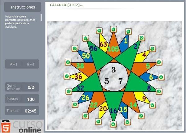"""Yo le llamo """"La Estrella de los Números"""". En realidad se llama """"Mapa interactivo de cálculo"""", de Educaplay. Practica con este juego tu domi..."""