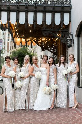 Gold glitter bridesmaids dresses.  New Orleans Classic and Chic Wedding at the Roosevelt Hotel.  New Orleans, Paris, and Worldwide Wedding Photographers.  Arte De Vie