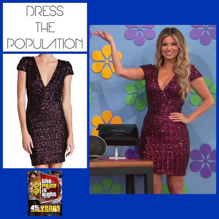 DRESS THE POPULATION 'Zoe' Sequin V-Neck Body-Con Dress in Wine worn by Amber Lancaster (Nordstrom Exclusive)