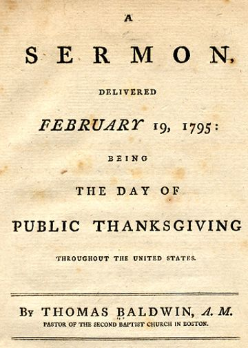 WallBuilders - Historical Writings - Sermon - Thanksgiving - 1795 Massachusetts