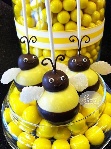 Bumble bee cake pops malted milk ball for heads on yellow cake pop?