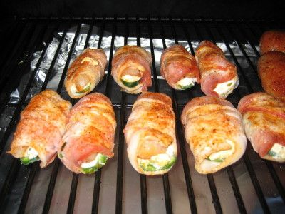SmokingPit.com BBQ -Smoked Bacon Wrapped Cream Cheese & Chicken ABT's -  Recipes and how to videos on  slow cooking on the Traeger texas smoker grill.  smoking meats information and Treager Pelles Tacoma WA Washinton SmokingPit.com