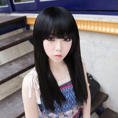 Длинные черные прямые волосы парик женщин девушки прямые волосы ци длинные прямые волосы челка проволоки высокая температура