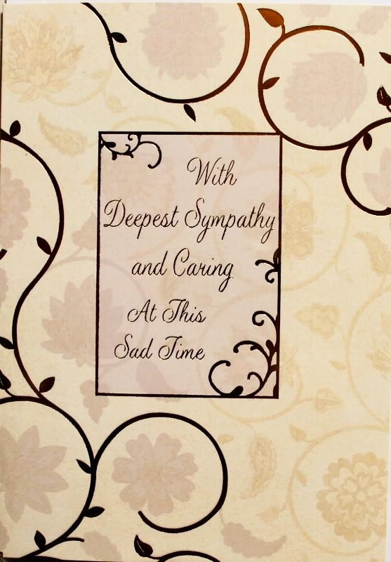 With deepest sympathy and caring at this sad time card, flowers theme, brand new
