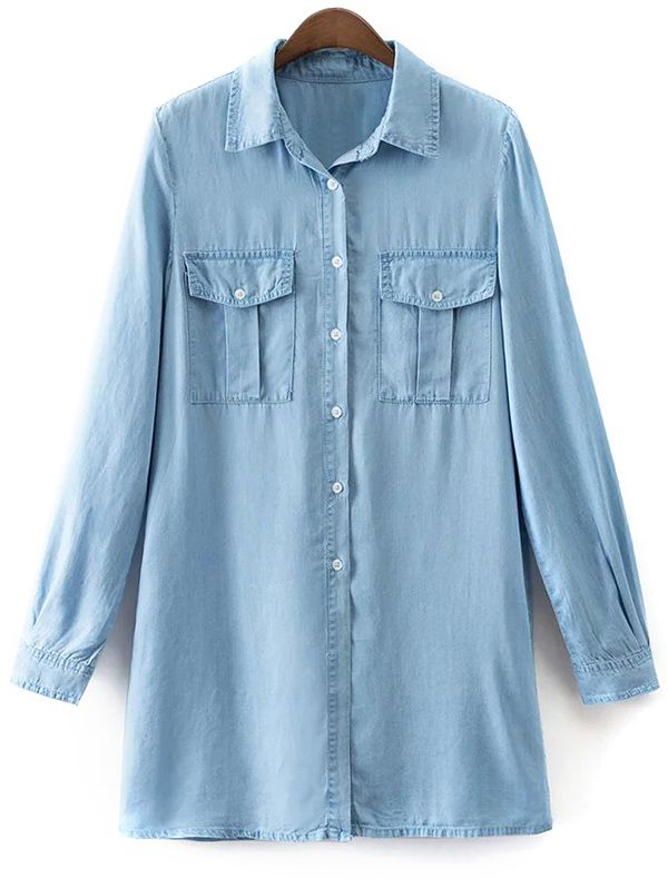 Pockets Long Sleeve Denim Shirt Dress