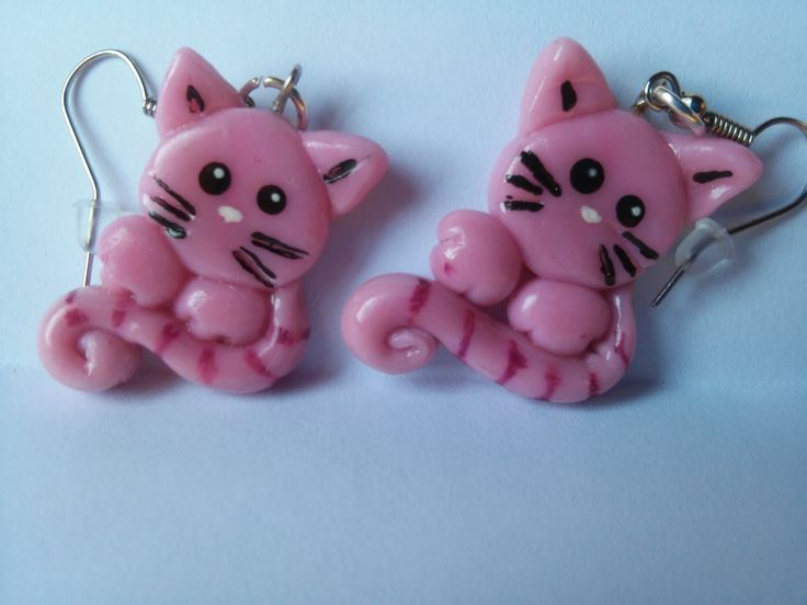 pink cats earring